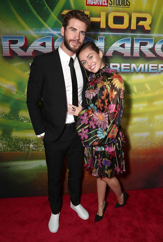 <p>Also at the <i>Thor: Ragnarok</i> premiere: star Chris Hemsworth's younger brother, Liam, and his love. (Photo: Todd Williamson/Getty Images) </p>