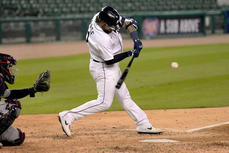 Detroit Tigers' Eric Haase bats against the Cleveland Indians during the sixth inning Saturday, Sept. 19, 2020, in Detroit. Haase grounded out on the at-bat.