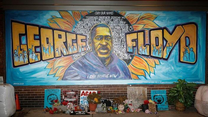 George Floyd mural paintings on 38th Avenue and Chicago Avenue the day before the opening statement of the trial of former police officer Derek Chauvin, who was accused of murdering George Floyd's death in Minneapolis, Minnesota, USA, on March 28.  2021.