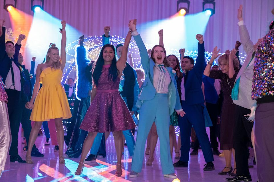 "Based on the 2018 Broadway musical, ""The Prom"" was loosely inspired by a number of real-life cases in which LGBTQ teens were banned from attending dances and other school events with same-sex dates. (Photo: MELINDA SUE GORDON/NETFLIX )"