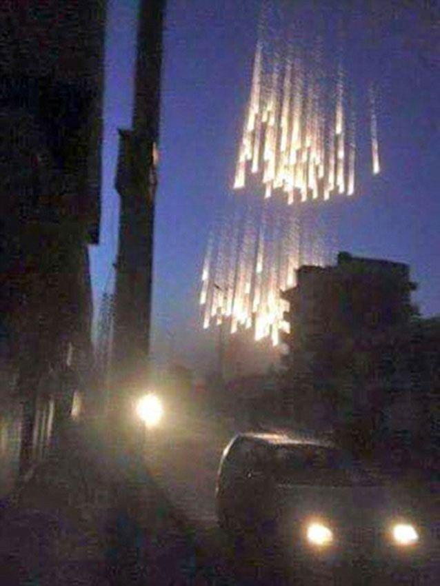 White phosphorus dropped over civilian areas - a beach of Geneva Convention. Source: Twitter