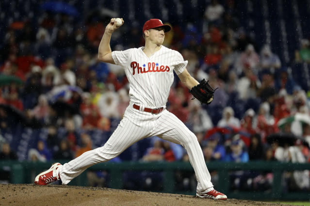Philadelphia Phillies' Nick Pivetta pitches during the third inning of the team's baseball game against the Chicago Cubs, Friday, Aug. 31, 2018, in Philadelphia. (AP Photo/Matt Slocum)