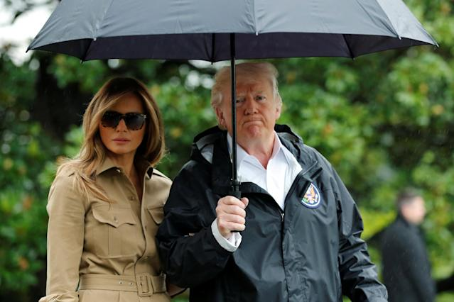 <p>President Donald Trump and first lady Melania Trump depart the White House in Washington on their way to view storm damage in Texas, Sept. 2, 2017. (Photo: Yuri Gripas/Reuters) </p>