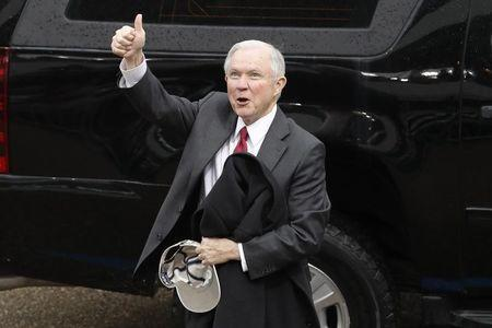 Senator Jeff Sessions (R-AL) reacts after the inauguration of President Donald Trump in Washington, January 20, 2017. REUTERS/Lucas Jackson