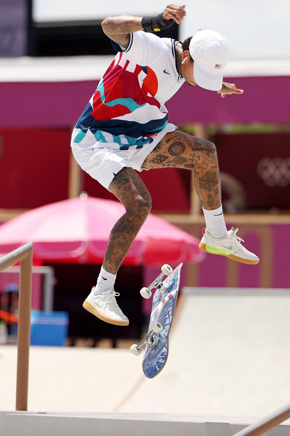 Nyjah Huston, who ranked seventh, during the men's street finals.