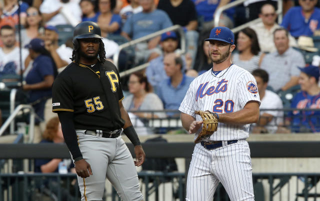 Pittsburgh's Josh Bell (55) and New York's Pete Alonso haven't been themselves at the ballpark lately. (Getty)