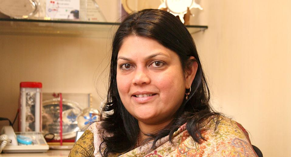 Founder and CEO of Nykaa Falguni Nayar and family ranked tenth on the list, with an estimated wealth of Rs 5,410 crore. Photo: Getty Images
