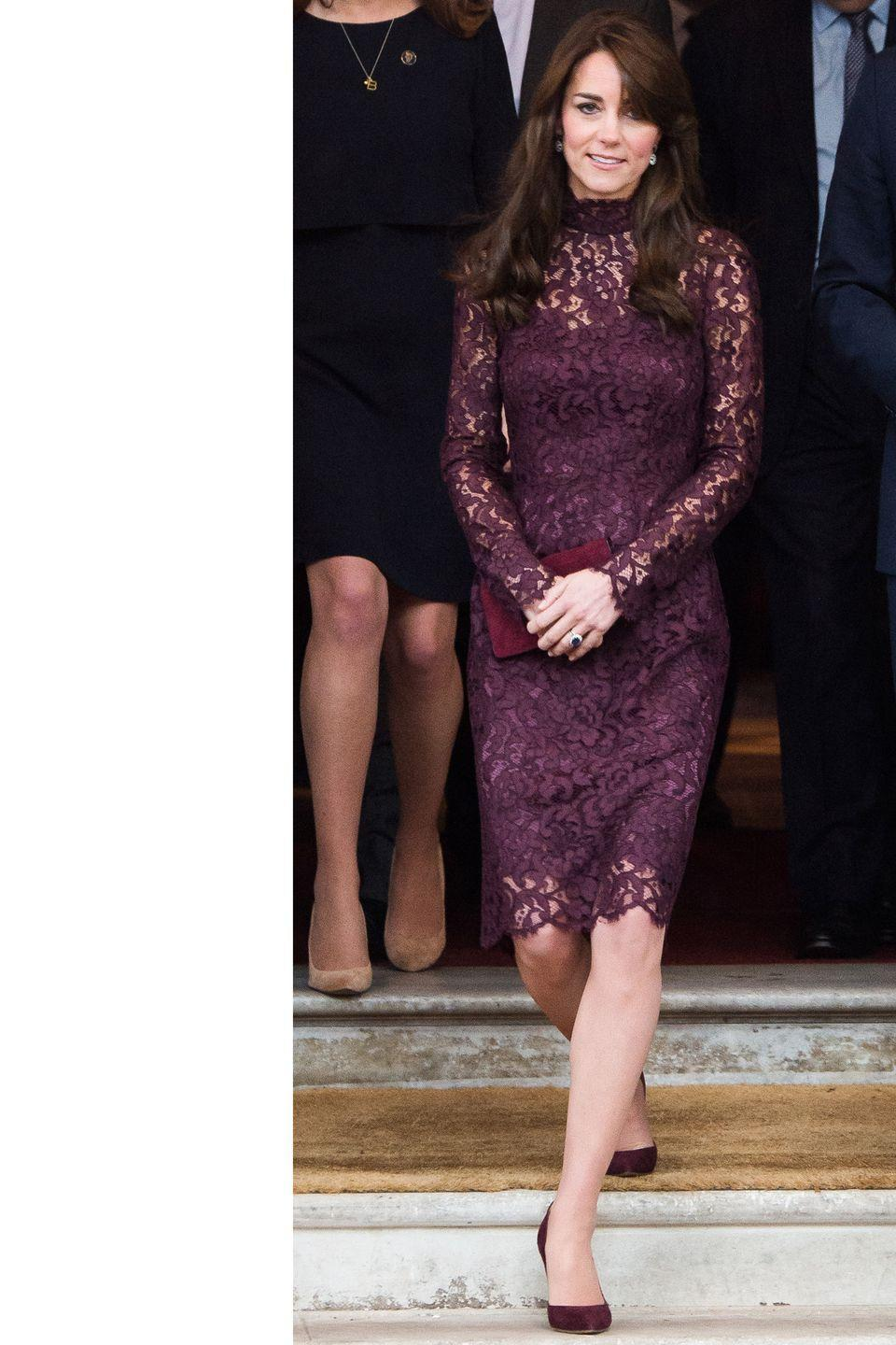 <p>The Duchess steps out in a burgundy lace Dolce & Gabbana dress.</p>