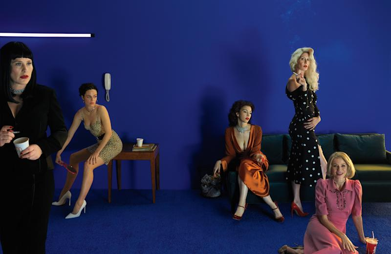 From left: Patricia Arquette wears an Akris jacket and skirt; Tiffany & Co. necklace. Hailey Gates wears a Norma Kamali swim dress and skirt; Theodora Warre earrings; Bulgari necklace; Michael Kors Collection belt; Manolo Blahnik shoes. Chrysta Bell wears a Balmain dress; Tiffany & Co. necklace; Rochas shoes. Laura Dern wears a Monse dress; Cartier necklace; Manolo Blahnik shoes; her own ring. Naomi Watts wears a Bottega Veneta dress; Lagos necklace; Paul Andrew shoes.