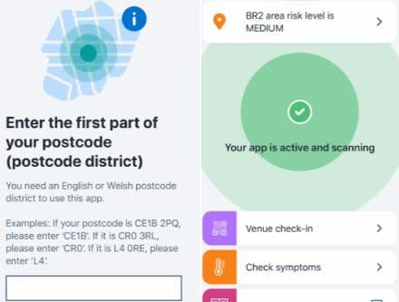 The app will ask you to enter the first part of your postcode to reveal the coronavirus risk level in your area