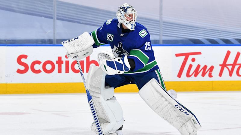 EDMONTON, ALBERTA - AUGUST 30: Goaltender Jacob Markstrom #25 of the Vancouver Canucks skates to the bench in the third period of Game Four of the Western Conference Second Round of the 2020 NHL Stanley Cup Playoff between the Vegas Golden Knights and the Vancouver Canucks at Rogers Place on August 30, 2020 in Edmonton, Alberta. (Photo by Andy Devlin/NHLI via Getty Images)