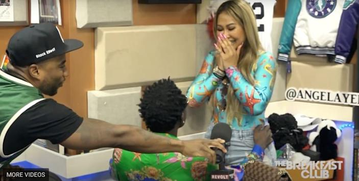 Michael Blackson Proposes To Girlfriend Live On The Breakfast Club (Credit: Youtube/Breakfast Club Power 105.1 FM)