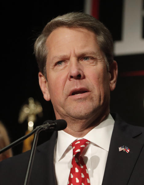FILE - In this Nov. 7, 2018, file photo, Brian Kemp speaks to supporters in Athens, Ga. Just prior to taking office, Georgia's Republican Gov. Brian Kemp quietly settled a lawsuit that said he owed $500,000 for a loan he negotiated and guaranteed for a struggling agricultural company. (AP Photo/John Bazemore, File)