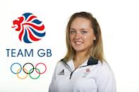 BIRMINGHAM, ENGLAND - JULY 16: (EDITORS NOTE: This image has been digitally altered - LOGO ADDED TO BACKGROUND)A portrait of Amy Tinkler, a member of the Great Britain Olympic Gymnast team, during the Team GB Kitting Out ahead of Rio 2016 Olympic Games on July 16, 2016 in Birmingham, England. (Photo by Bryn Lennon/Getty Images)
