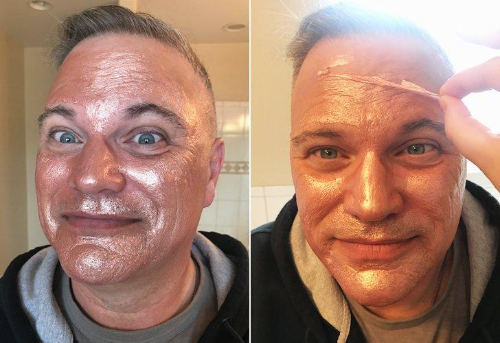 """<p><strong>The process:</strong> My coworker gave me this rose gold mask, and I absolutely love it, so I was hoping my dad would feel the same. I painted it on his face with a brush and let it dry for 15 minutes before peeling it off of him.</p> <p><strong>Dad's verdict:</strong> """"Rose gold is really trendy right now, right?"""" he asked. """"I get it. But I look like an Oompa Loompa."""" I'm pretty impressed that he knew rose gold is a big color. He loved the peeling process; he found it just as satisfying as the rest of us do. When I asked him how his skin felt afterward, he just kept saying, """"Fresh . . . very fresh.""""</p>"""