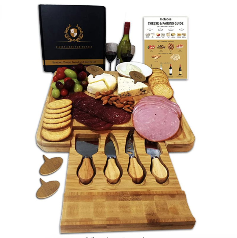 Cheeseboard set, bamboo serving tray with cutlery knives in a drawer, S$105.74. PHOTO: Amazon
