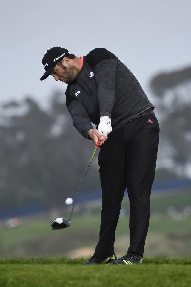 Jon Rahm of Spain hits his tee shot on the fifth hole of the South Course at Torrey Pines Golf Course during the second round of the Farmers Insurance golf tournament Friday Jan. 24, 2020, in San Diego. (AP Photo/Denis Poroy)