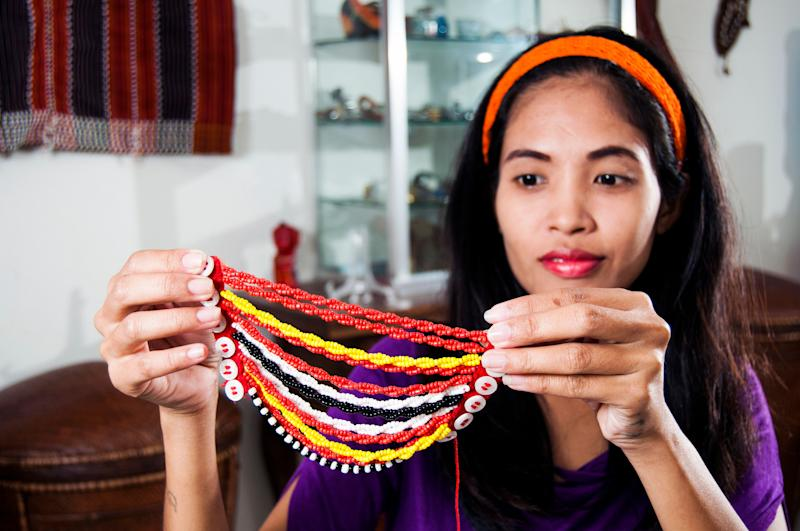 An example of an Ifugao beaded hairpiece.