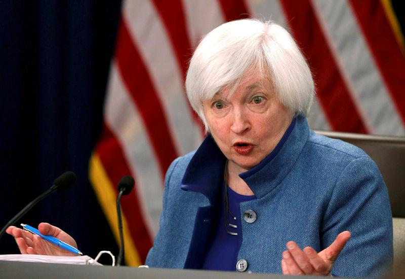 FILE PHOTO - Federal Reserve Chair Yellen addresses news conference following FOMC meeting in Washington