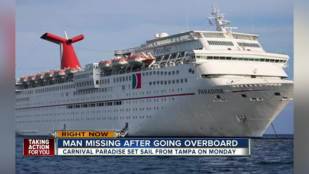 Rescue crews are searching for a 50-year-old male reported missing from a cruise ship Tuesday approximately 85 miles off of Fort Myers. The cruise ship departed from Tampa on Monday.