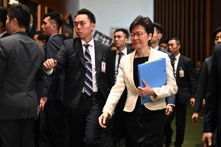 There has been speculation Beijing was preparing to remove Hong Kong Chief Executive Carrie Lam (R) as city authorities struggle to contain pro-democracy demonstrations