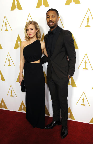 Evening co-hosts Kristen Bell, left, and Michael B. Jordan pose together before the Academy of Motion Picture Arts and Sciences' annual Scientific and Technical Awards on Saturday, Feb. 15, 2014, in Beverly Hills, Calif. (Photo by Chris Pizzello/Invision/AP)