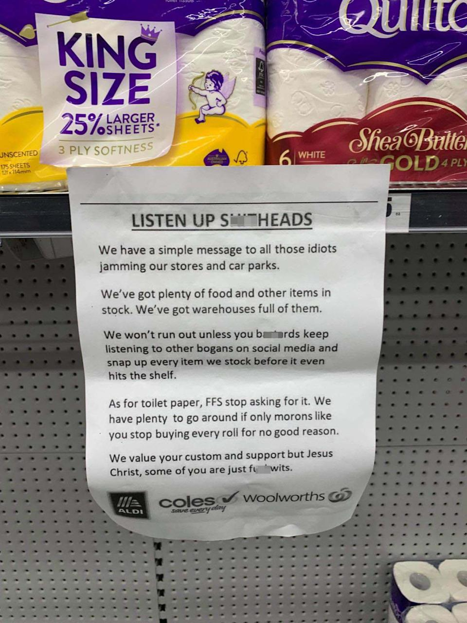 An unauthorised typed A4 note addressed to Woolworths shoppers who are panic buying toilet paper