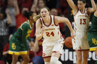 FILE - In this March 8, 2020, file photo, Iowa State guard Ashley Joens runs up court during an NCAA college basketball game against Baylor in Ames, Iowa. Joens, a 6-foot junior, averaged 20.5 points and 10.9 rebounds last season. (AP Photo/Charlie Neibergall, File)