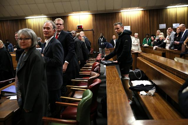 Paralympic gold medalist Oscar Pistorius stands in the dock during the third day of his resentencing hearing for the 2013 murder of his girlfriend Reeva Steenkamp in the North Gauteng High Court in Pretoria, South Africa June 15, 2016. REUTERS/Alon Skuy/Pool