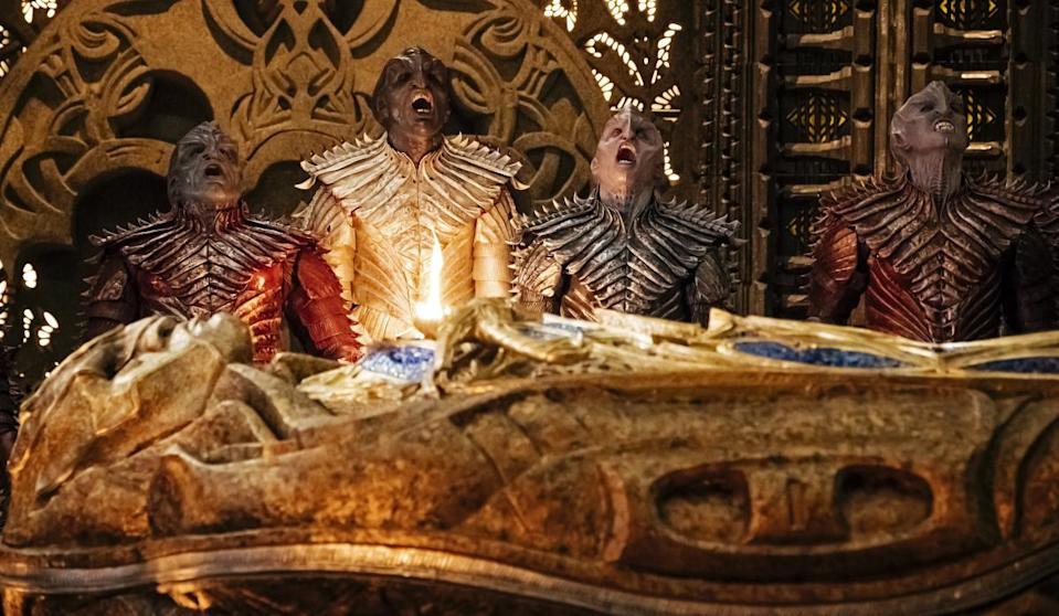 Voq is the last Klingon on the right; it's a role credited to Javid Iqbal, but the fan theory has it that Latif is both Voq and Ash Tyler. (Photo: Jan Thijs/CBS Interactive)