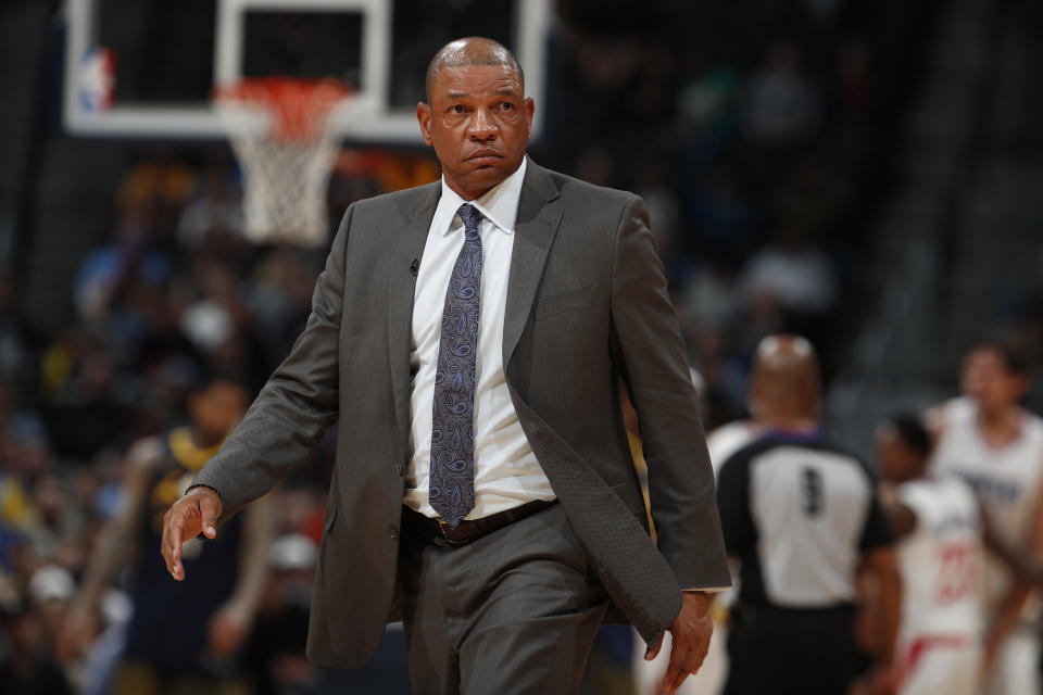 Los Angeles Clippers head coach Doc Rivers in the second half of an NBA basketball game Tuesday, Feb. 27, 2018, in Denver. The Clippers prevailed 122-120. (AP Photo/David Zalubowski)