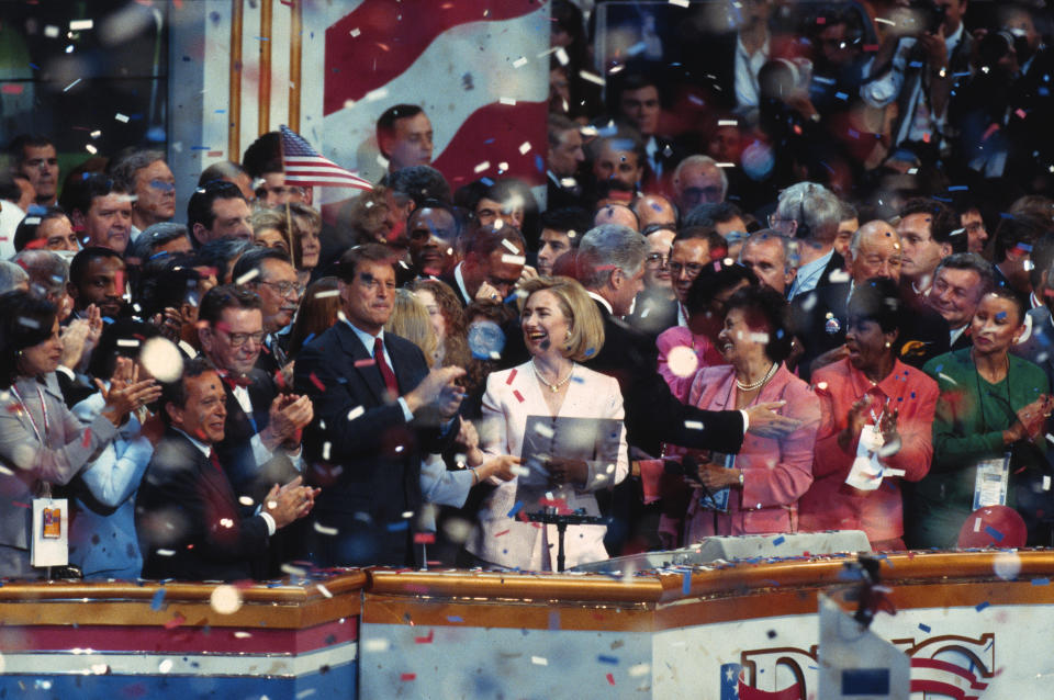"""Hillary Clinton's """"Macarena"""" moment at the 1995 Democratic National Convention lives on in memes. (Photo: CQ Roll Call File Photo)"""