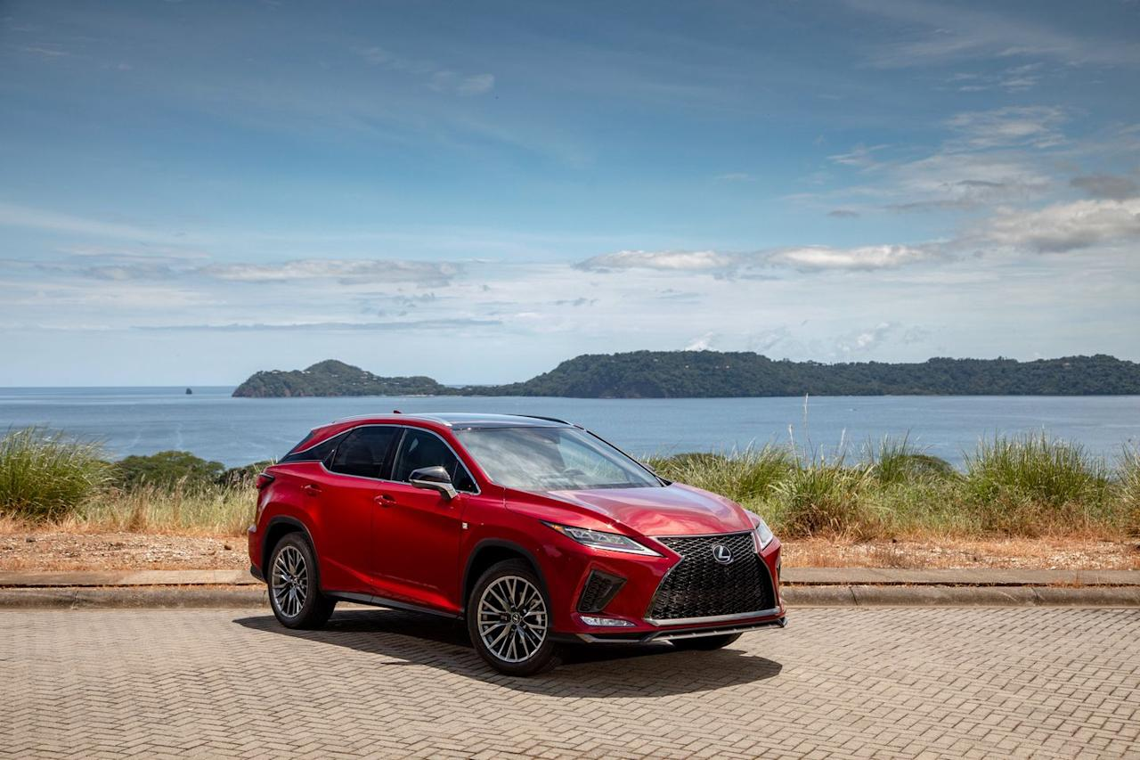 <p>Both the RX350 and hybrid RX450h have received new styling, including updated LED headlights and taillights, a more complex grille design, and new paint colors.</p>