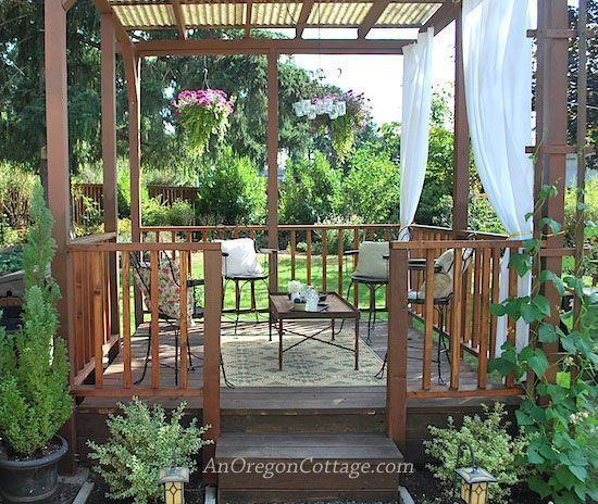 """<p>This beautiful wood gazebo was built with love from the remains of an old, rotting deck. Check out this tutorial to see how a backyard eyesore was transformed into a sweet, functional space. </p><p><strong>Get the look at <a href=""""https://anoregoncottage.com/gazebo-reveal/"""" rel=""""nofollow noopener"""" target=""""_blank"""" data-ylk=""""slk:An Oregon Cottage"""" class=""""link rapid-noclick-resp"""">An Oregon Cottage</a>. </strong></p><p><a class=""""link rapid-noclick-resp"""" href=""""https://www.amazon.com/Fab-Habitat-Murano-Recycled-Plastic/dp/B004HGCKGU/?th=1&tag=syn-yahoo-20&ascsubtag=%5Bartid%7C10050.g.30932979%5Bsrc%7Cyahoo-us"""" rel=""""nofollow noopener"""" target=""""_blank"""" data-ylk=""""slk:SHOP OUTDOOR RUGS"""">SHOP OUTDOOR RUGS</a></p>"""