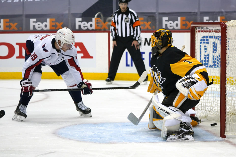 Washington Capitals' Nicklas Backstrom (19) puts the puck behind Pittsburgh Penguins goaltender Casey DeSmith for a goal during the second period of an NHL hockey game in Pittsburgh, Sunday, Jan. 17, 2021. (AP Photo/Gene J. Puskar)