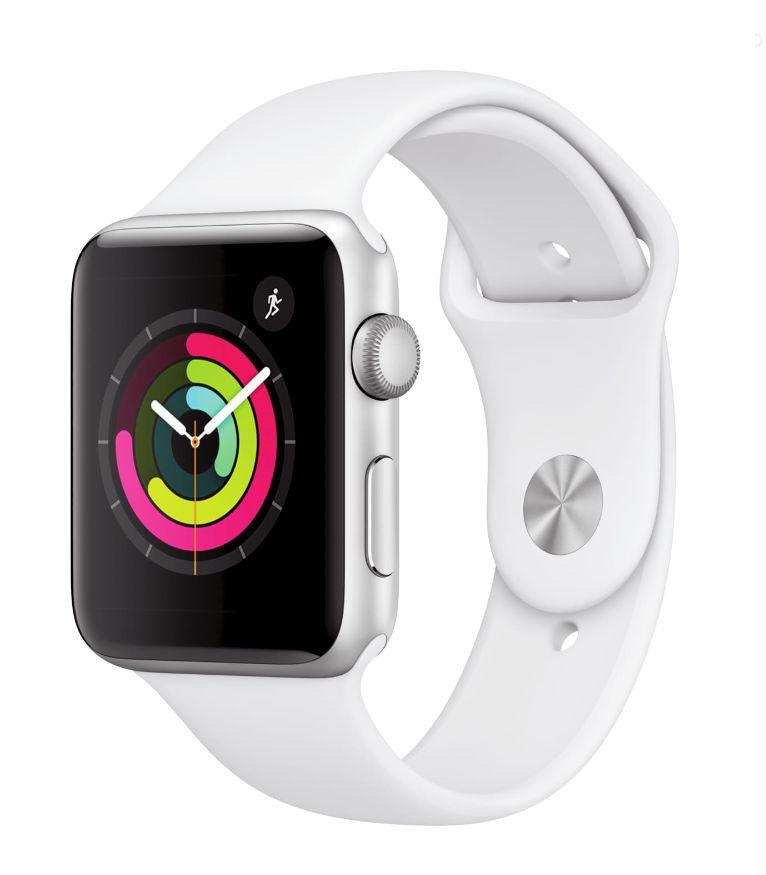 Apple Watch Series 3 GPS, 42mm, Sport Band, Aluminum Case in White. (Photo: Walmart)