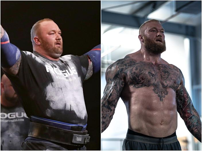 Hafthor Bjornsson before and after losing weight.