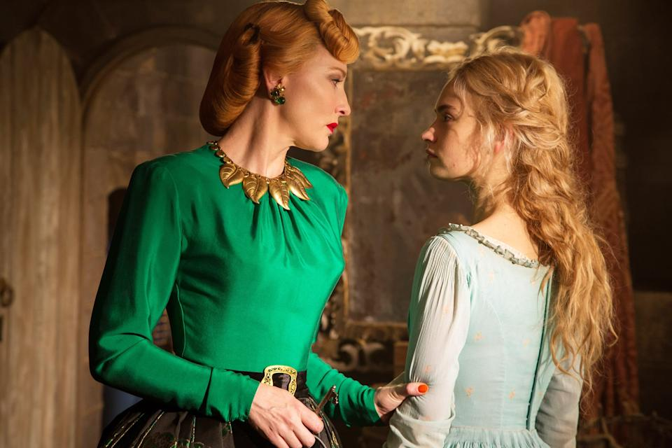 CINDERELLA, from left: Cate Blanchett, Lily James as Cinderella, 2015. ph: Jonathan Olley/Walt Disney Studios Motion Pictures/courtesy Everett Collection