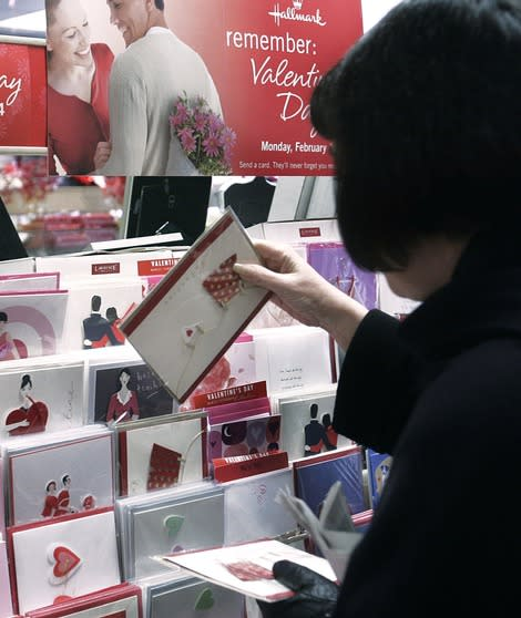 Do you have any idea what that Valentine's Day card has been through? (Photo by Stephen Chernin/Getty Images)