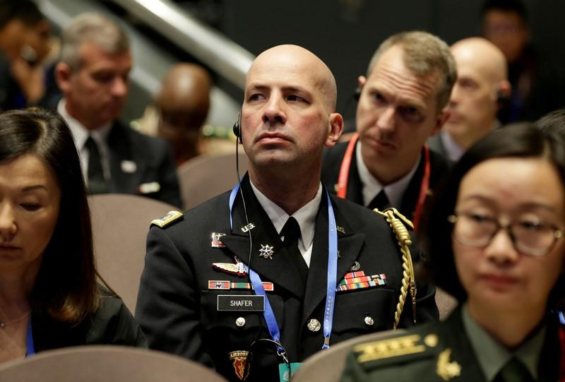 U.S. military delegate Jason Shafer attends the Xiangshan Forum in Beijing