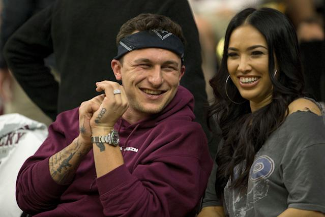 Johnny Manziel and Bre Tiesi have split. (AP Photo/Sam Craft)