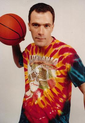 NYC street artist Greg Speirs, creator & Licensor of the iconic Slam-Dunking Skullman Lithuanian Basketball Tie Dye T-Shirts. The tie-dyed Slam Dunking Skeleton trademark acquired international fame as a household icon and legendary part of Olympics history. The brand has been marketed consistently since 1992. Copyright 1992 Greg Speirs/ Licensor. Lithuania Tie Dye® and Lithuanian Slam Dunking Skeleton® are Brands & Trademarks owned by Greg Speirs. (PRNewsfoto/Skullman.com)