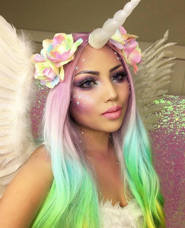 "<p>What's not to love about wearing a rainbow wig, glow-in-the-dark unicorn horn, and rhinestones? Exactly.</p><p><a class=""link rapid-noclick-resp"" href=""https://go.redirectingat.com?id=74968X1596630&url=https%3A%2F%2Fwww.sephora.com%2Fproduct%2Fmodern-renaissance-eye-shadow-palette-P409118%3Ficid2%3Dproducts%2Bgrid%253Ap409118%253Aproduct&sref=https%3A%2F%2Fwww.goodhousekeeping.com%2Fholidays%2Fhalloween-ideas%2Fg2599%2Fhalloween-costumes-with-makeup-ideas%2F"" rel=""nofollow noopener"" target=""_blank"" data-ylk=""slk:SHOP EYESHADOW PALETTE"">SHOP EYESHADOW PALETTE</a></p><p><a href=""https://www.instagram.com/p/BLq8z5oBMVQ/&hidecaption=true"" rel=""nofollow noopener"" target=""_blank"" data-ylk=""slk:See the original post on Instagram"" class=""link rapid-noclick-resp"">See the original post on Instagram</a></p>"
