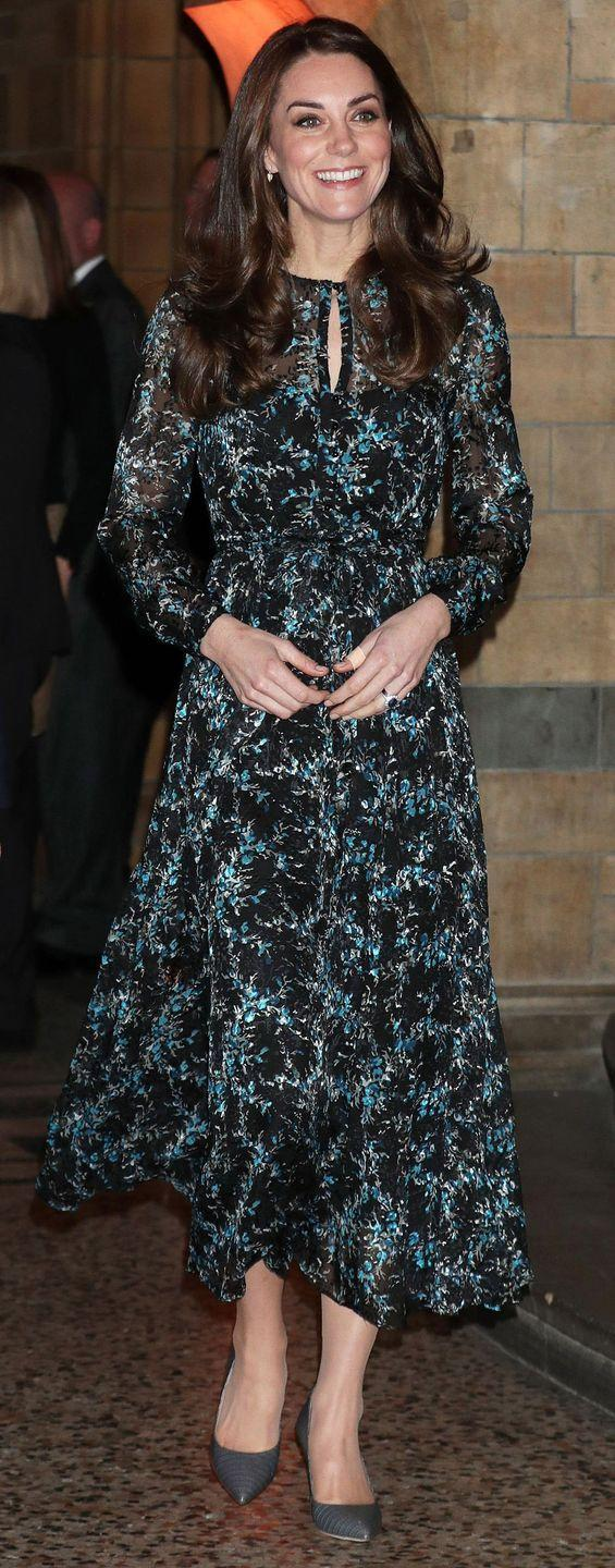 <p>Middleton wore a printed teal and black L.K. Bennett dress and grey leather pointed-toe pumps at the Natural History Museum in London.</p>