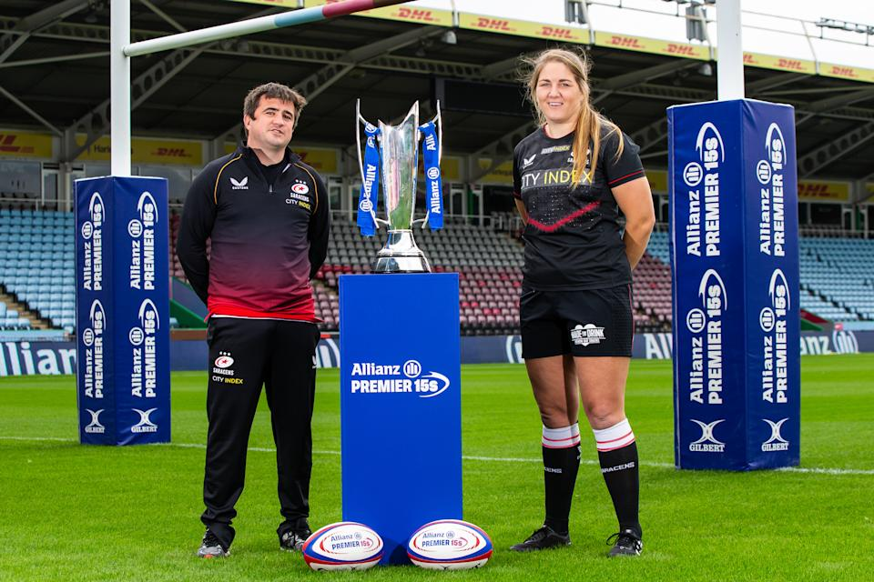 Saracens head coach Alex Austerberry and Poppy Cleall (Picture: RFU)