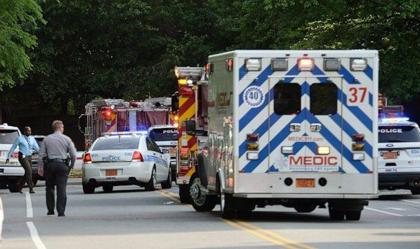 PHOTO: Emergency vehicles cluster on Mary Alexander Road on the campus of University of North Carolina at Charlotte after a shooting, April 30, 2019, in Charlotte, N.C. (John Simmons/The Charlotte Observer via AP)