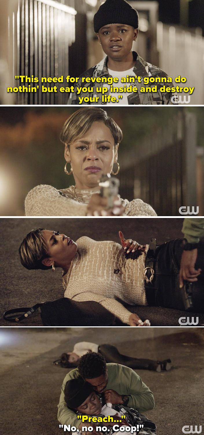 Coop telling Mo she needs to let go of revenge, then Preach crying while holding Coop