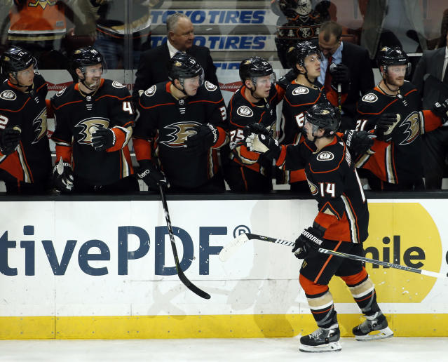 "<a class=""link rapid-noclick-resp"" href=""/nhl/teams/ana/"" data-ylk=""slk:Anaheim Ducks"">Anaheim Ducks</a> center <a class=""link rapid-noclick-resp"" href=""/nhl/players/5238/"" data-ylk=""slk:Adam Henrique"">Adam Henrique</a> has started fast with his new team and should see plenty of offensive looks. (AP Photo/Alex Gallardo)"