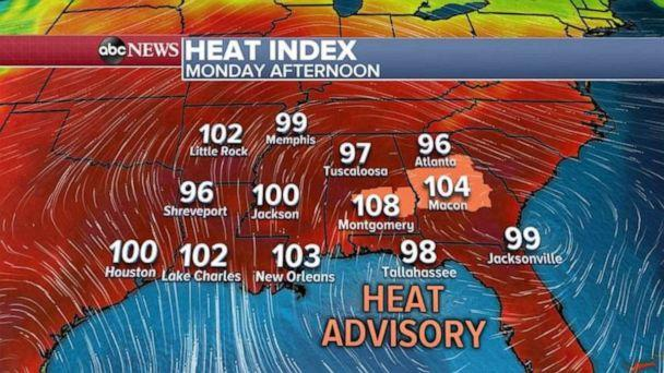 PHOTO: A severe heatwave will blanket the Southeast today with many areas topping triple digits. (ABC News)