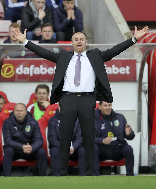 <p>Burnley manager Sean Dyche signals to players during their match against Sunderland during the English Premier League soccer match at the Stadium of Light stadium in Sunderland, England, Saturday March 18, 2017. (Richard Sellers/PA via AP) </p>